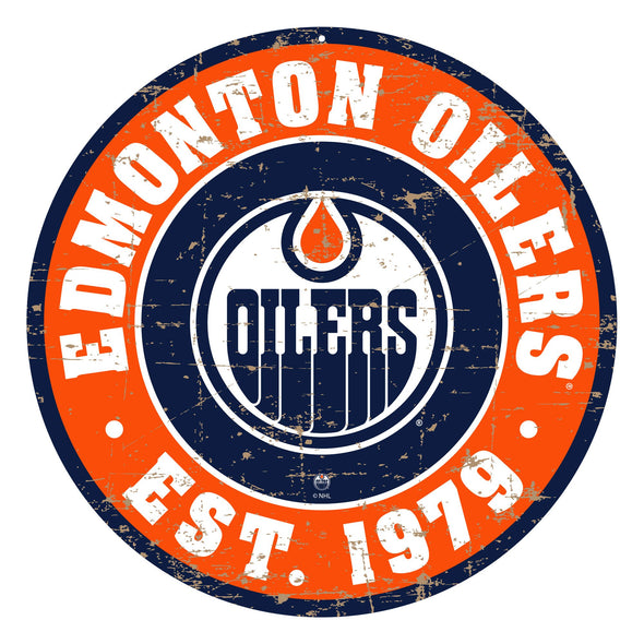 "Edmonton Oilers 22"" PVC Distressed Logo Wall Sign"