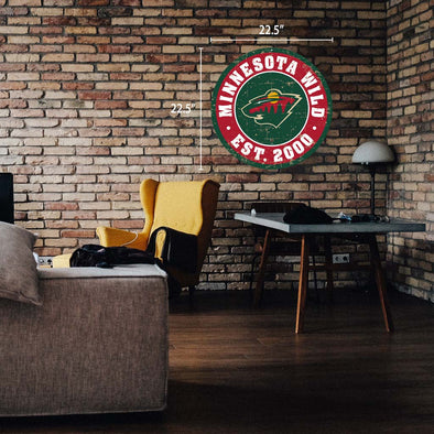 "Minnesota Wild 22"" Round PVC Distressed Logo Wall Sign"