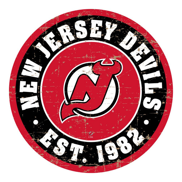 "New Jersey Devils 22"" Round PVC Distressed Logo Wall Sign"