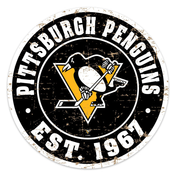 "Pittsburgh Penguins 22"" PVC Distressed Logo Wall Sign"