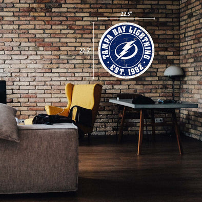 "Tampa Bay Lightning 22"" Round PVC Distressed Logo Wall Sign"