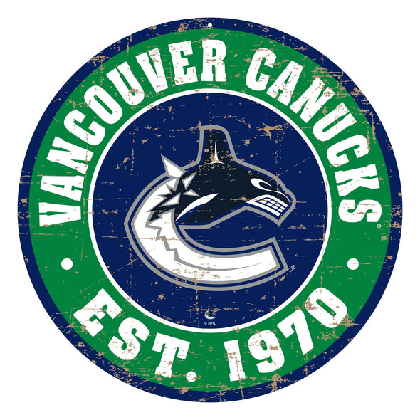 "Vancouver Canucks 22"" PVC Distressed Logo Wall Sign"