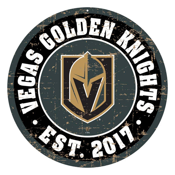 "Vegas Golden Knights 22"" Round PVC Distressed Logo Wall Sign"