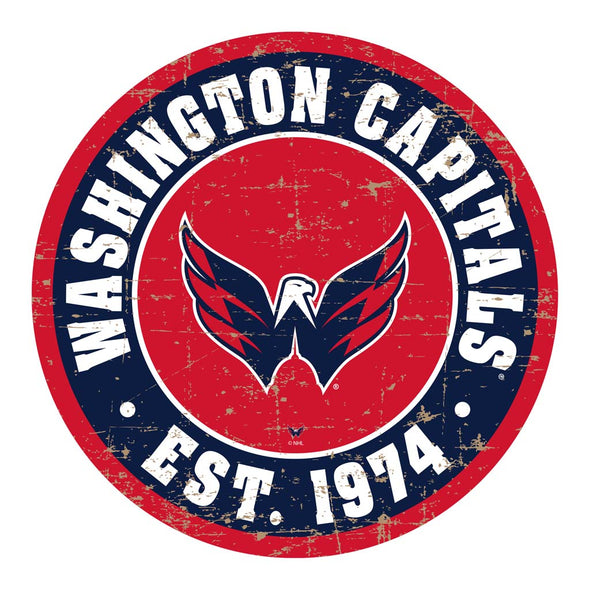"Washington Capitals  22"" Round PVC Distressed Logo Wall Sign"