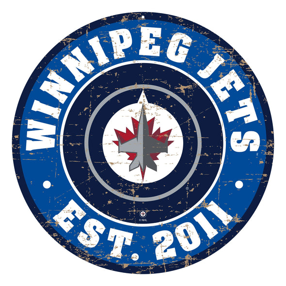 "Winnipeg Jets 22"" PVC Distressed Logo Wall Sign"