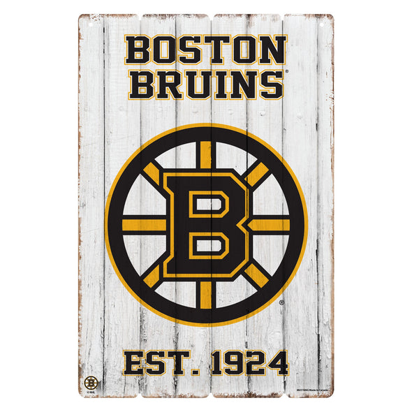 Boston Bruins 24x16 Established Faux Wood Sign