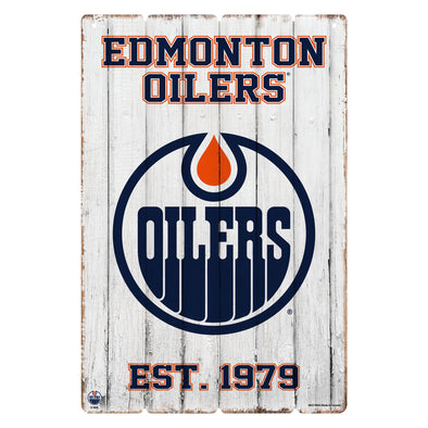 Edmonton Oilers 24x16 Established Faux  Wood Sign