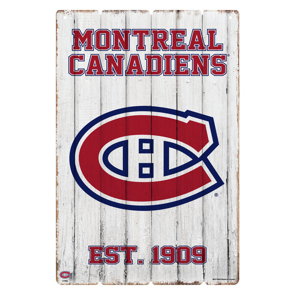 Montreal Canadiens 24x16 Established Faux  Wood Sign