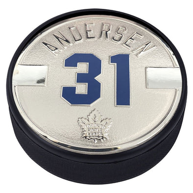 Toronto Maple Leafs Silver Plated Medallion Puck – Frederik Andersen