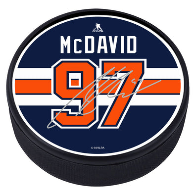 Edmonton Oilers™ C. McDavid Souvenir Player Puck with Replica Signature