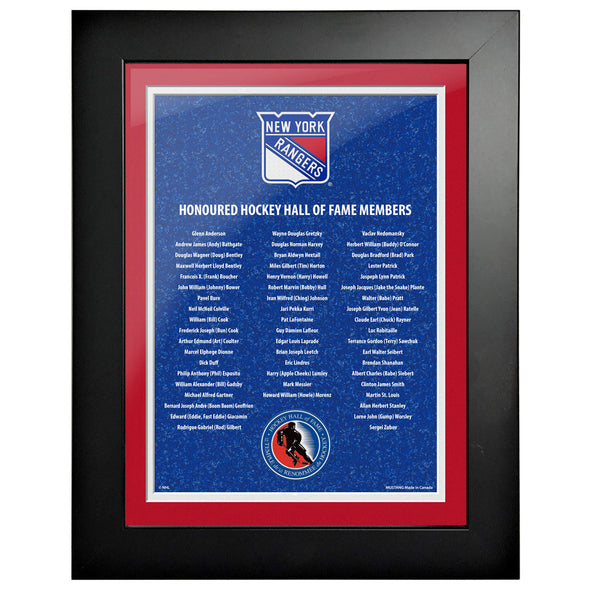 HHOF 12X16 Pic Frame Honoured Members-New York Rangers