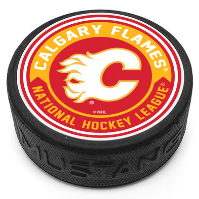 Calgary Flames Arrow Textured Puck