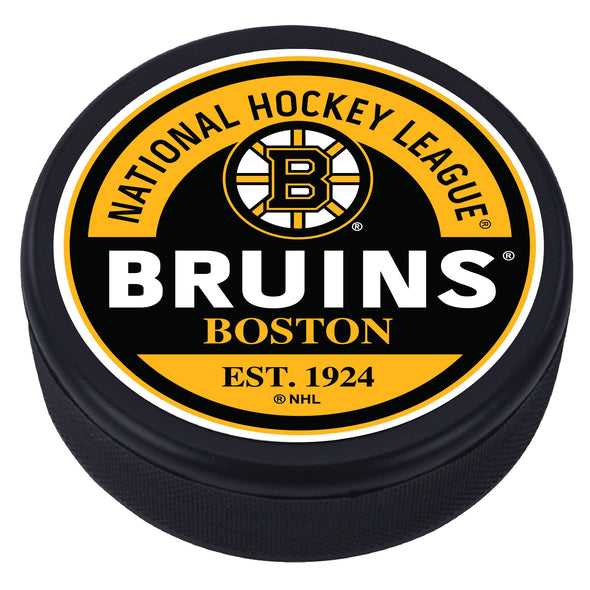 Boston Bruins Block Textured Puck