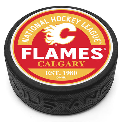 Calgary Flames Block Textured Puck