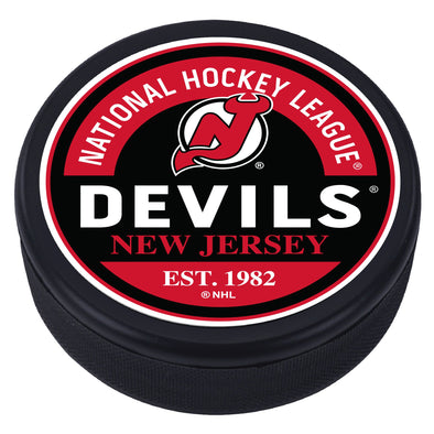 New Jersey Devils Block Design Puck