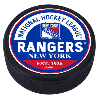 New York Rangers Block Textured Puck