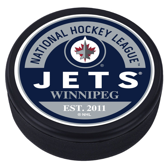 Winnipeg Jets Block Textured Puck