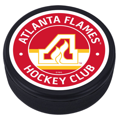 Atlanta Flames Vintage Striped Textured Puck