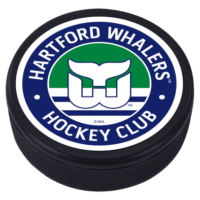 Hartford Whalers Blue Vintage Striped Textured Puck