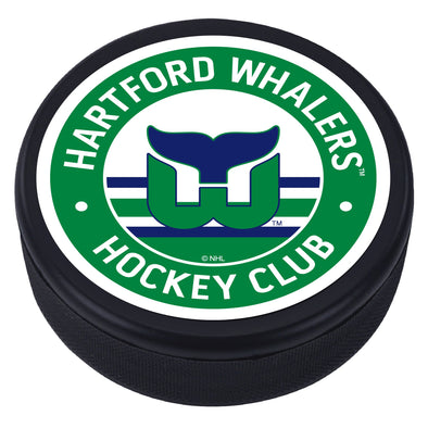 Hartford Whalers Green Vintage Striped Textured Puck
