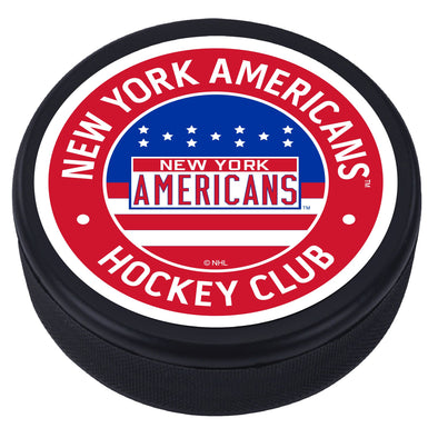New York Americans Red Vintage Striped Textured Puck