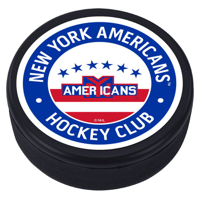New York Americans Blue Vintage Striped Textured Puck