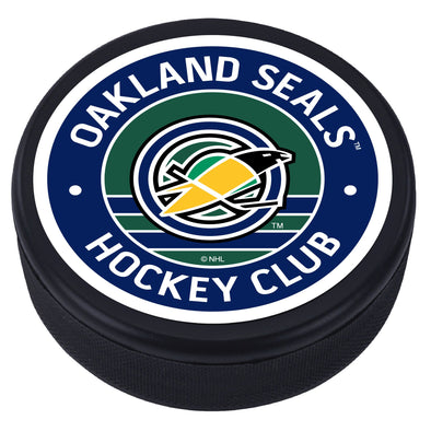 Oakland Seals Vintage Striped Textured Puck