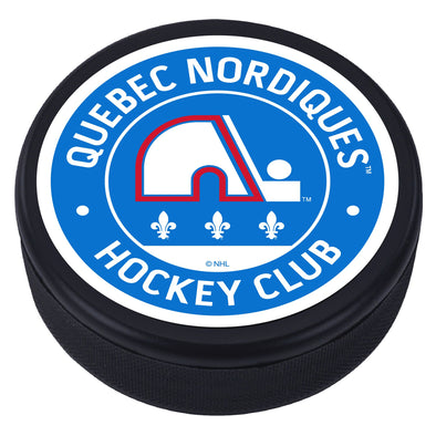 Quebec Nordiques Vintage Striped Textured Puck