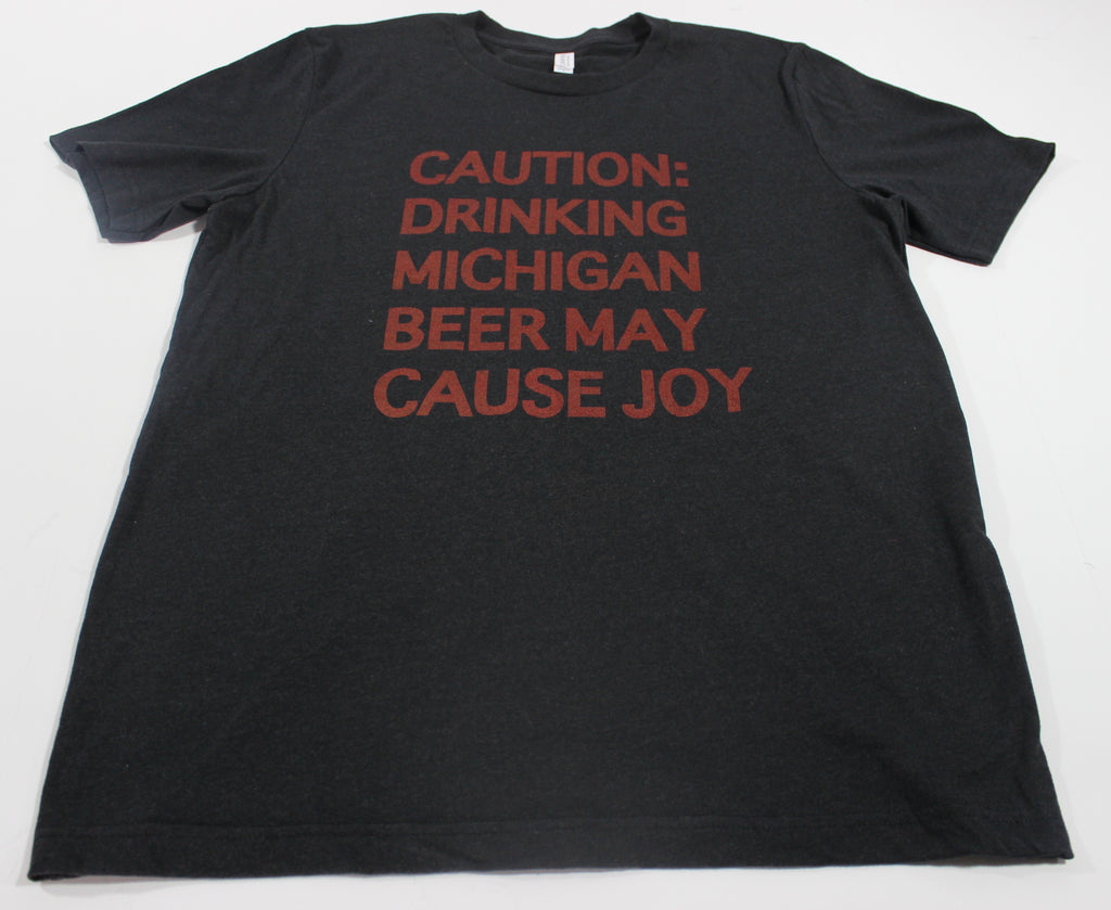 CAUTION TEE HEATHER BLACK