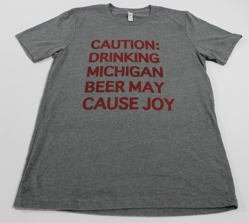 CAUTION TEE  DEEP HEATHER GREY