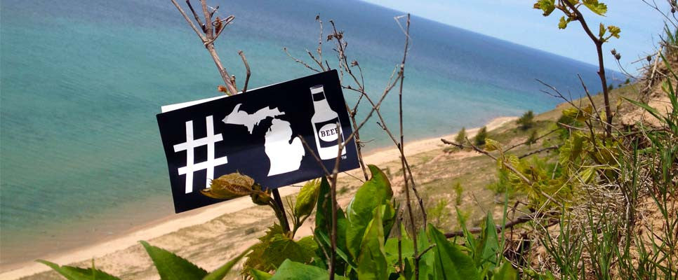 #michiganbeer on the beach of Lake Michigan