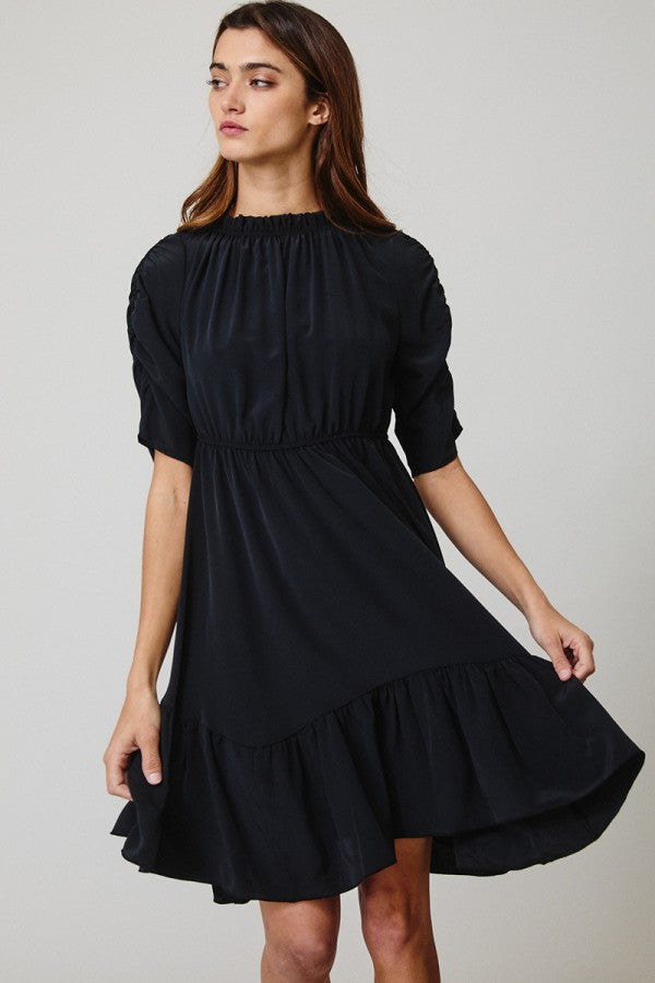 Ruffle Neck Short Sleeve Dress
