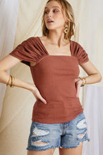 Ruching Sleeve Ribbed Tight Top