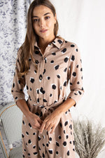 Leopard Shirt Dress with Tie