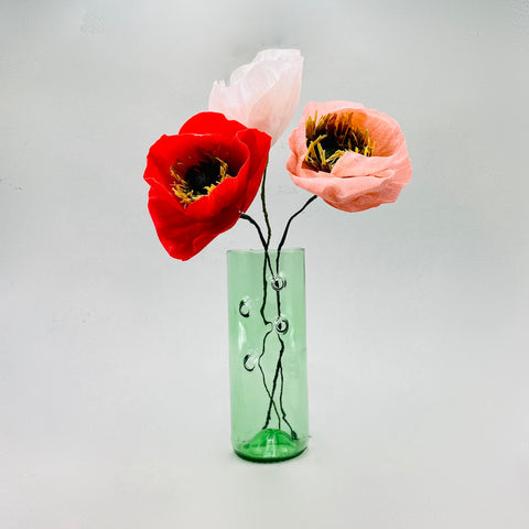 3 Paper flowers - Poppies