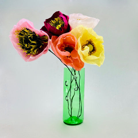 5 Paper flowers - Poppies