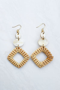 Xuan 16K Gold-Plated Brass Buffalo Horn & Rattan/Wicker Geo Statement Earrings