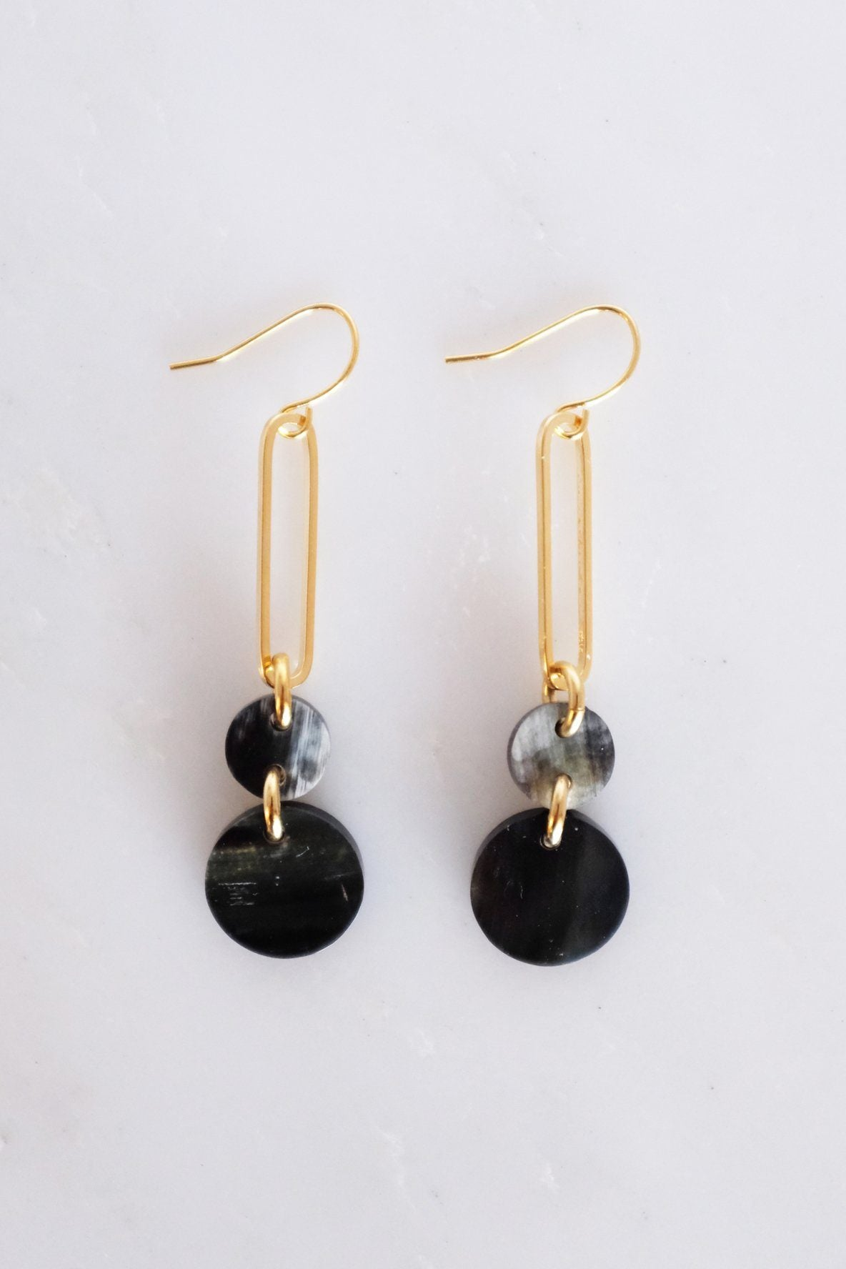 Sa Dec Circular Drop Buffalo Horn Dangle Earrings