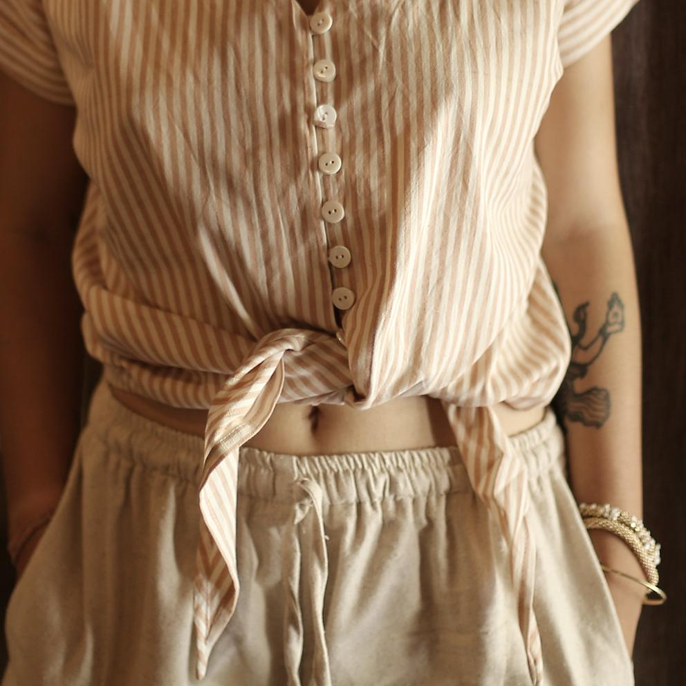 LANA Handwoven Cotton Knot Shirt, in Rose