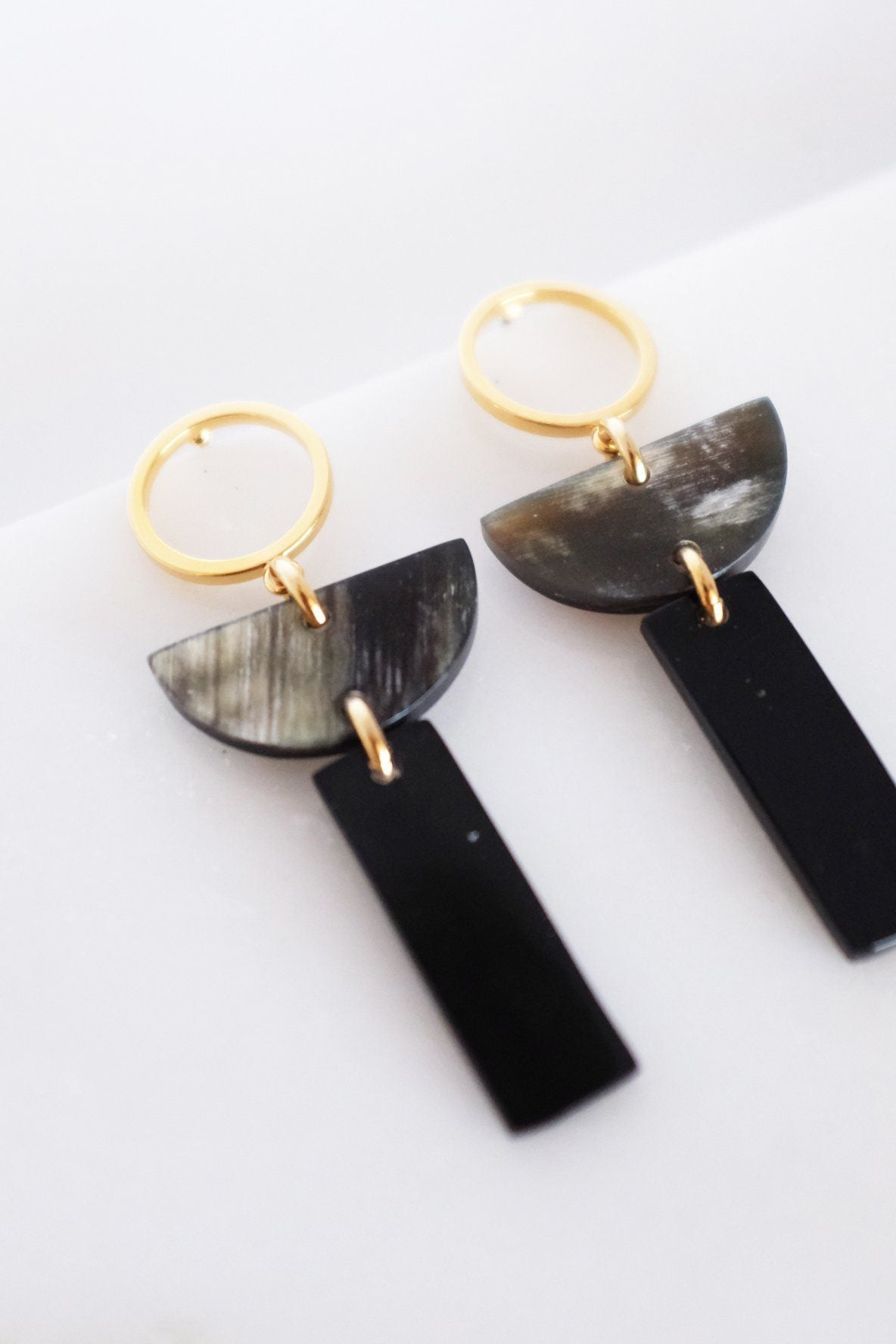 Con Dao II Geo Buffalo Horn Post Dangle Earrings