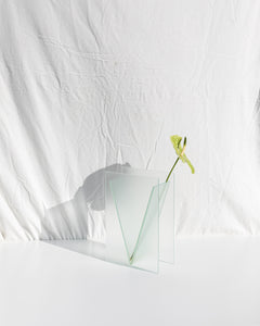 architectural vase in structured glass