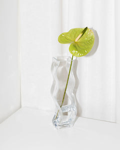 swirling vase in clear glass