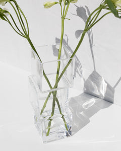 tower vase in clear glass