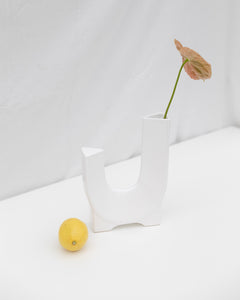 sculptural white vase
