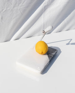 grey and white marble cheese slicer