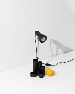 black desk lamp with organizer