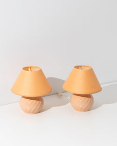 peach ceramic table lamp set