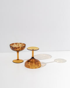 amber martini glasses set