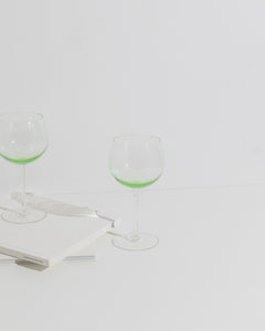 green wine glass duo