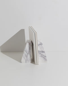 white marble book end set